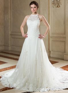 Vestidos princesa/ Formato A Cabresto Cauda de sereia Tule Renda Vestido de noiva com Bordado Lantejoulas