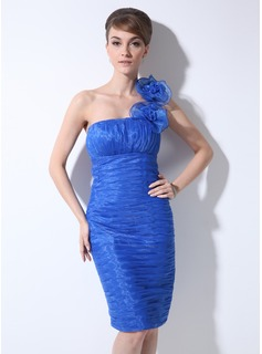 Sheath One-Shoulder Knee-Length Organza Cocktail Dress With Ruffle Flower(s) (016008224)