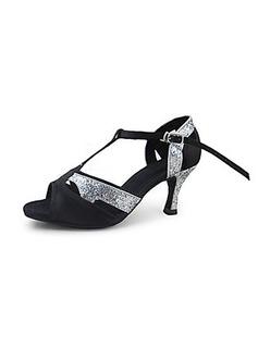 De mujer Satén Brillo Chispeante Tacones Sandalias Danza latina Sala de Baile con Tira T Zapatos de danza