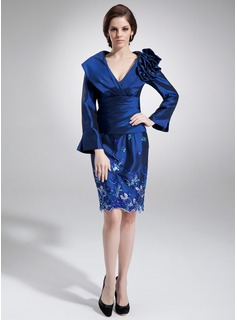 Sheath/Column V-neck Knee-Length Taffeta Mother of the Bride Dress With Ruffle Appliques Sequins