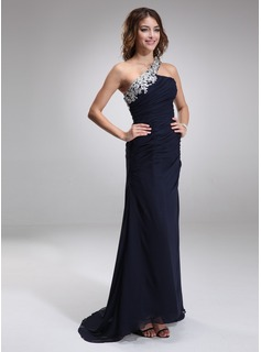 Sheath Asymmetrical Chiffon Evening Dress With Lace Beading (017016875)
