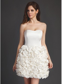 A-Line/Princess Sweetheart Short/Mini Satin Wedding Dress With Flower(s)