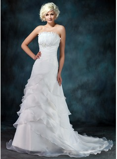 A-Line/Princess Scalloped Neck Court Train Organza Wedding Dress With Ruffle Beadwork (002012849)