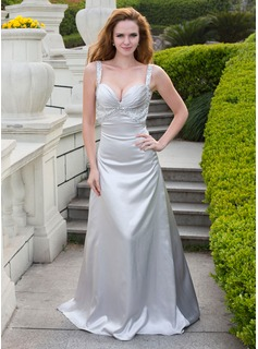 A-Line/Princess Sweetheart Court Train Charmeuse Prom Dress With Beading (018024667)