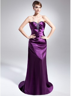 Sheath/Column Sweetheart Sweep Train Charmeuse Evening Dress With Ruffle Beading