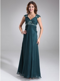 Empire V-neck Floor-Length Chiffon Charmeuse Maternity Bridesmaid Dress With Ruffle Lace Beading (045022468)