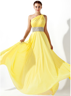 Empire One-Shoulder Floor-Length Chiffon Prom Dress With Ruffle Beading
