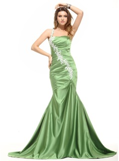 Mermaid One-Shoulder Court Train Satin Evening Dress With Ruffle Lace (017016050)
