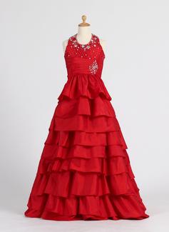 Princess Floor-length Flower Girl Dress - Taffeta Sleeveless Halter With Beading/Cascading Ruffles