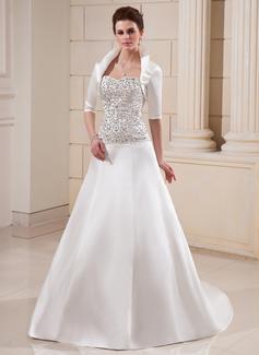 Corte A/Princesa Escote corazón Cola capilla Satén Vestido de novia con Bordado Bordado Lentejuelas