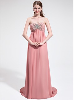 Empire Sweetheart Sweep Train Chiffon Prom Dress With Beading