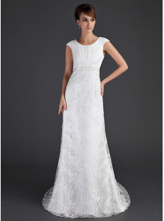 Sheath/Column Scoop Neck Court Train Satin Tulle Wedding Dress With Ruffle Lace Beadwork (002001630)