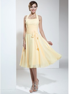 A-Lijn/Prinses Halter Kuitlang Chiffon Schoolgala Jurk met Roes (022003360)