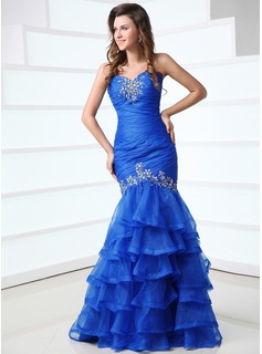 Mermaid Sweetheart Floor-Length Organza Prom Dress With Ruffle Beading (018017318)