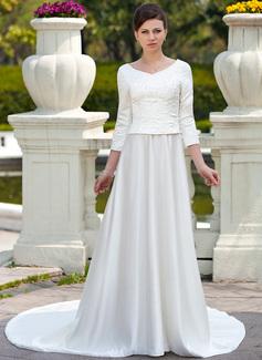Corte A/Princesa Escote redondo Cola capilla Satén Vestido de novia con Bordado Bordado