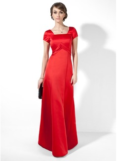 A-Line/Princess Square Neckline Floor-Length Satin Evening Dress With Ruffle