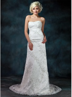 Sheath/Column Sweetheart Chapel Train Satin Lace Wedding Dress With Beadwork Sequins