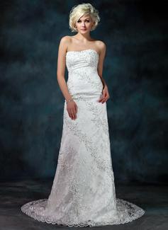 Vestido tubo Escote corazón Cola capilla Satén Encaje Vestido de novia con Bordado Lentejuelas