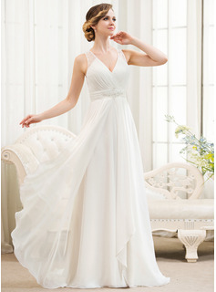 A-Line/Princess V-neck Sweep Train Chiffon Tulle Wedding Dress With Beading Sequins Cascading Ruffles