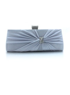 Satin Met Crystal / Strass Evening Bag / Koppeling (Zilver) (012012250)