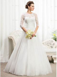 A-Line/Princess Scoop Neck Floor-Length Organza Satin Lace Wedding Dress With Ruffle Beading Sequins