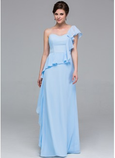 Sheath/Column One-Shoulder Floor-Length Chiffon Bridesmaid Dress With Cascading Ruffles