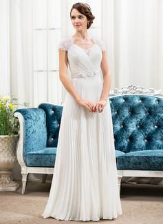 Corte A/Princesa Escote corazón Hasta el suelo Chifón Satén Encaje Vestido de novia con Bordado Flores Lentejuelas Plisado
