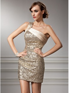 Sheath One-Shoulder Short/Mini Charmeuse Sequined Cocktail Dress With Ruffle (016008367)
