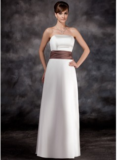 A-Line/Princess Strapless Floor-Length Satin Bridesmaid Dress With Ruffle Sash