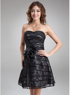A-Line/Princess Sweetheart Knee-Length Taffeta Lace Cocktail Dress (016008901)
