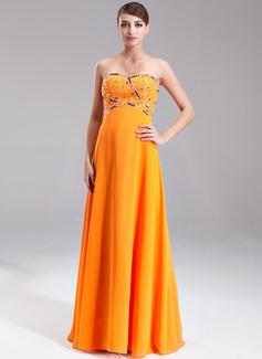 Corte A/Princesa Escote corazón Vestido Chifón Vestido de baile de promoción con Bordado