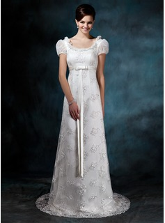 Sheath/Column Scoop Neck Court Train Satin Tulle Wedding Dress With Lace (002011643)