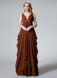 Empire V-neck Floor-Length Chiffon Charmeuse Evening Dress With Ruffle