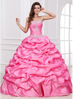 Ball-Gown Sweetheart Floor-Length Taffeta Quinceanera Dress With Ruffle Lace Beading (021017408)