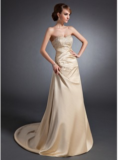 A-Line/Princess Sweetheart Sweep Train Satin Wedding Dress With Embroidered Ruffle Beading Sequins