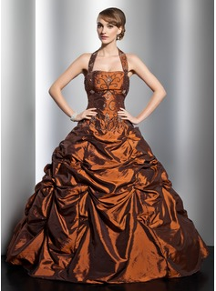 Ball-Gown Halter Floor-Length Taffeta Quinceanera Dress With Ruffle Beading (021014753)