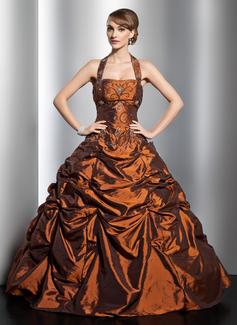 Corte de baile Cabestro Vestido Tafetán Vestido de quinceañera con Volantes Bordado