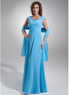 Corte A/Princesa Hombros caídos Vestido Chifón Vestido de madrina con Volantes Encaje