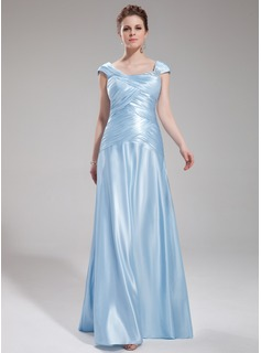 A-Line/Princess Floor-Length Charmeuse Evening Dress With Ruffle Beading