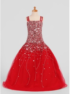 A-Line/Princess Square Neckline Floor-Length Satin Tulle Flower Girl Dress With Beading Sequins