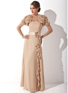 Sheath Strapless Floor-Length Chiffon Charmeuse Mother of the Bride Dress With Sash Flower(s) (008006173)