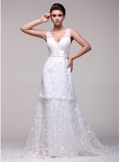 A-Line/Princess V-neck Chapel Train Satin Lace Wedding Dress With Beadwork (002016108)