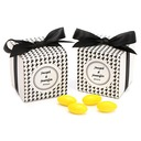 Black & White Houndstooth Cubic Favor Boxes With Ribbons (Set of 12) (050025737)
