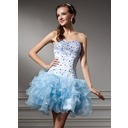 A-Line/Princess Sweetheart Short/Mini Organza Homecoming Dress With Beading Cascading Ruffles (022010491)