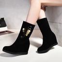 Femmes Suède Talon compensé Bottes avec Autres chaussures (088109385)