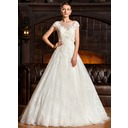 Ball-Gown Sweetheart Sweep Train Tulle Lace Wedding Dress (002067233)