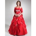 Duchesse-Linie V-Ausschnitt Bodenlang Taft Quinceañera Kleid (Kleid für die Geburtstagsfeier) mit Rüschen Perlen verziert Applikationen Spitze Pailletten (021004554)