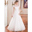 Vestidos princesa/ Formato A Sem o ombro Longos Tule Vestido de noiva com Pregueado Renda Bordado Lantejoulas (007041151)