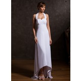 Empire Halter Asymmetrical Chiffon Mother of the Bride Dress With Ruffle Beading (008015125)