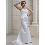 Mermaid Sweetheart Sweep Train Satin Wedding Dress With Ruffle Beadwork (002011680)